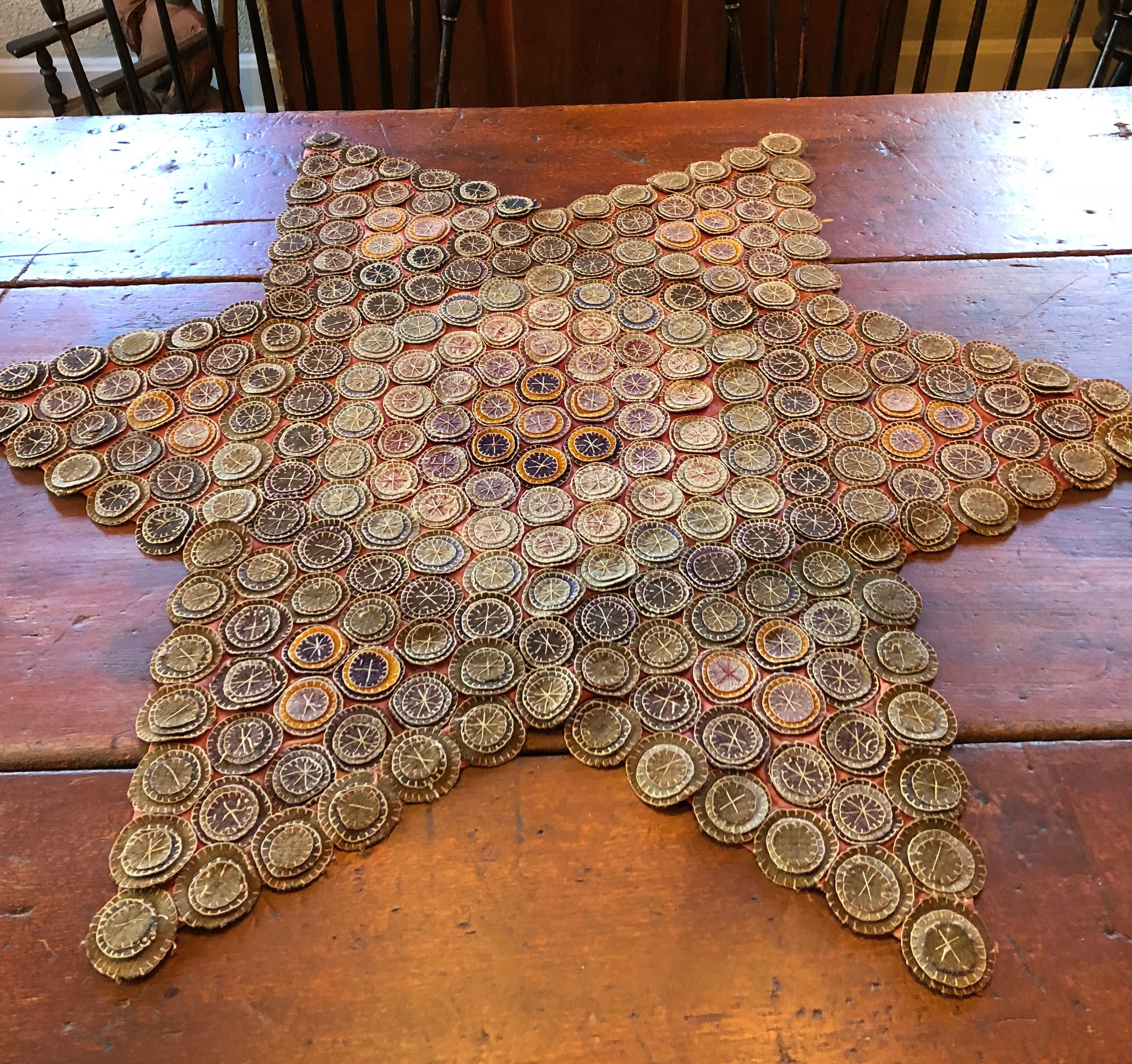 Large Star Shaped Penny Rug