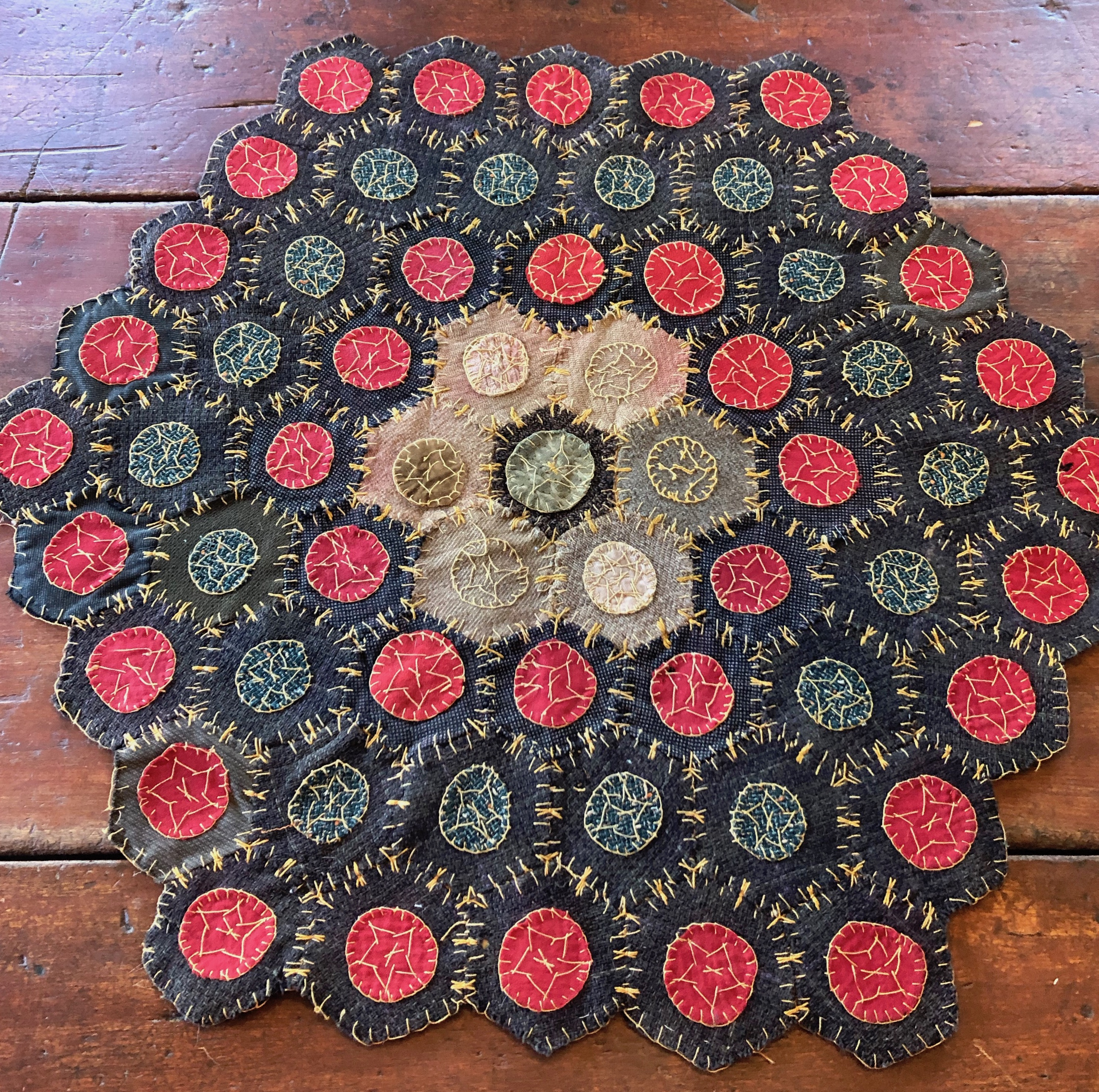 Antique Hexagonal Wool Penny Rug Tin Cats Antiques