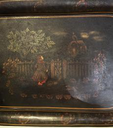 Exceptional hand-painted tin tray