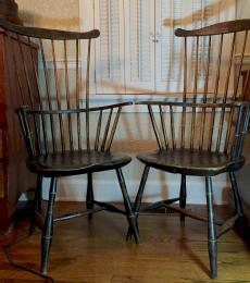 Pair of Fan-Back Windsor Arm Chairs